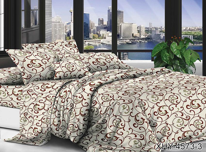 Полуторный комплект постельного белья бежевого цвета с узором, Поликоттон