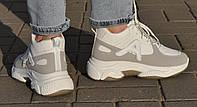 Демисезонные женские кроссовки из Pu-кожи белые. Маломерят. Размеры 36, 37, 38.