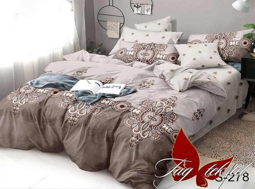 Полуторный комплект постельного белья коричневого цвета с узорами, Сатин-люкс