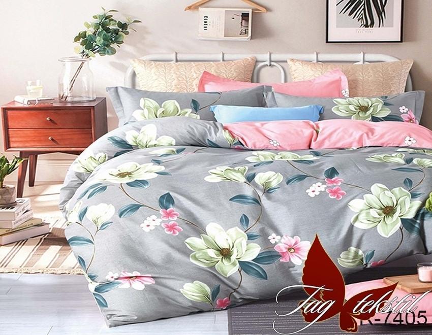 Полуторный комплект постельного белья серого цвета с цветами, Ранфорс