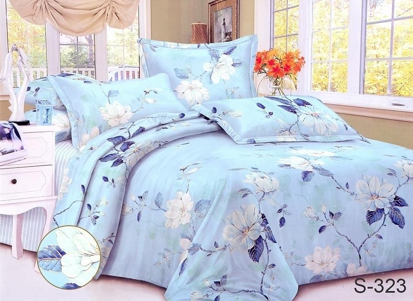 Полуторний комплект постільної білизни блакитного кольору з квітами, Сатин-люкс