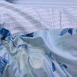 Полуторний комплект постільної білизни блакитного кольору з квітами, Сатин-люкс, фото 2