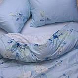 Полуторний комплект постільної білизни блакитного кольору з квітами, Сатин-люкс, фото 3