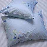 Полуторний комплект постільної білизни блакитного кольору з квітами, Сатин-люкс, фото 4