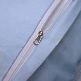 Полуторний комплект постільної білизни блакитного кольору з квітами, Сатин-люкс, фото 5