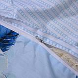 Полуторний комплект постільної білизни блакитного кольору з квітами, Сатин-люкс, фото 6