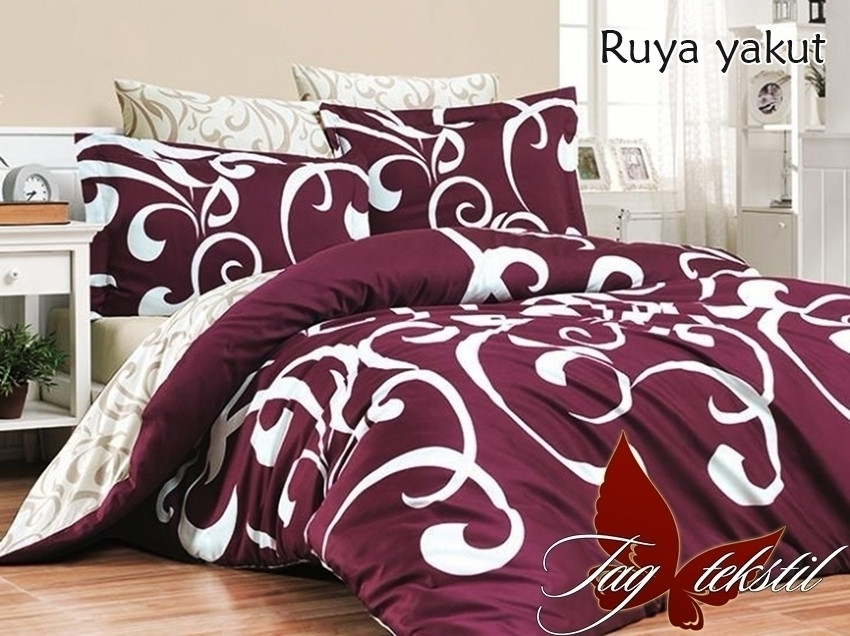 Полуторний комплект постільної білизни бордового кольору з візерунками, Ранфорс