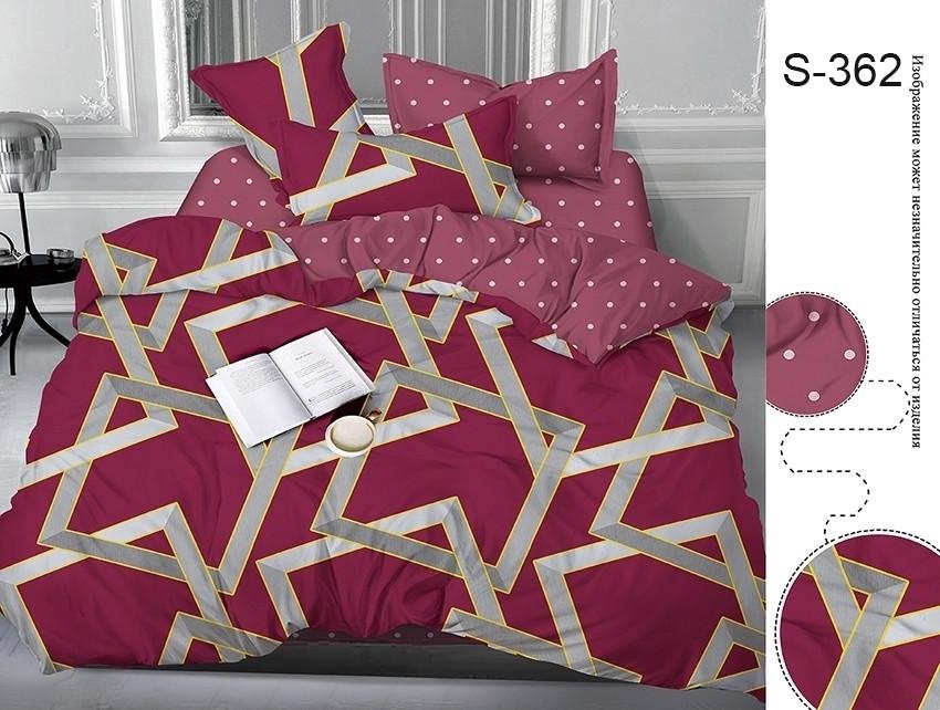 Полуторний комплект постільної білизни бордового кольору з геометричними візерунками, Сатин-люкс