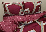 Полуторний комплект постільної білизни бордового кольору з геометричними візерунками, Сатин-люкс, фото 2