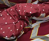 Полуторний комплект постільної білизни бордового кольору з геометричними візерунками, Сатин-люкс, фото 3