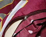 Полуторний комплект постільної білизни бордового кольору з геометричними візерунками, Сатин-люкс, фото 4