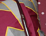 Полуторний комплект постільної білизни бордового кольору з геометричними візерунками, Сатин-люкс, фото 6
