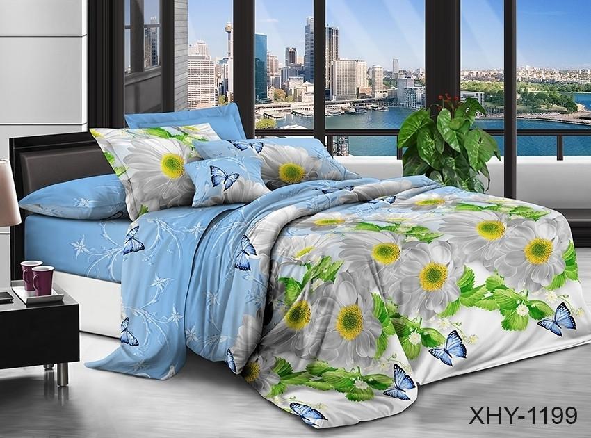 Полуторный комплект постельного белья голубого цвета с ромашками, Поликоттон
