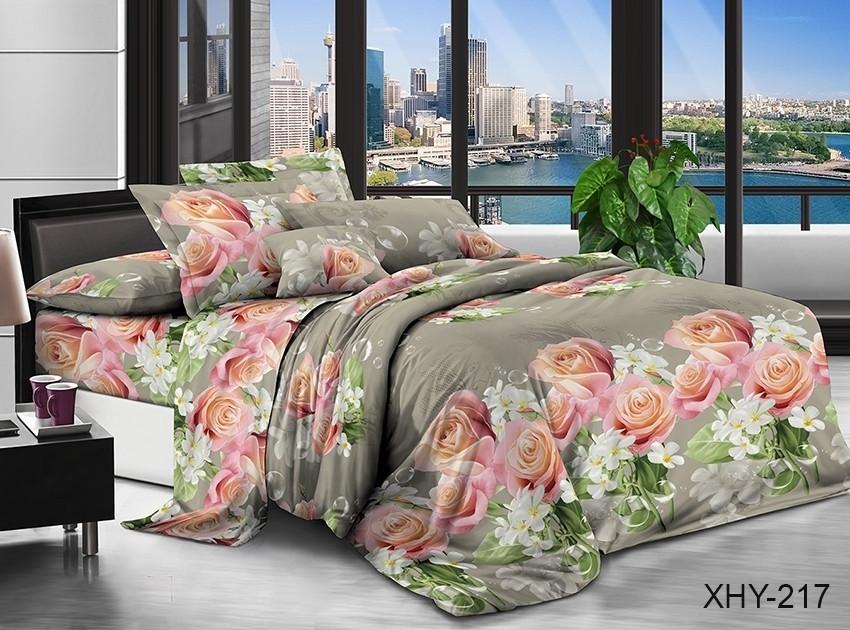 Полуторний комплект постільної білизни з трояндами, Полікотон