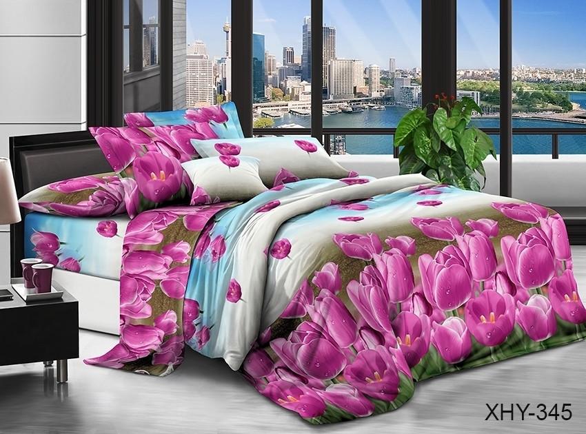 Полуторний комплект постільної білизни з тюльпанами, Полікотон