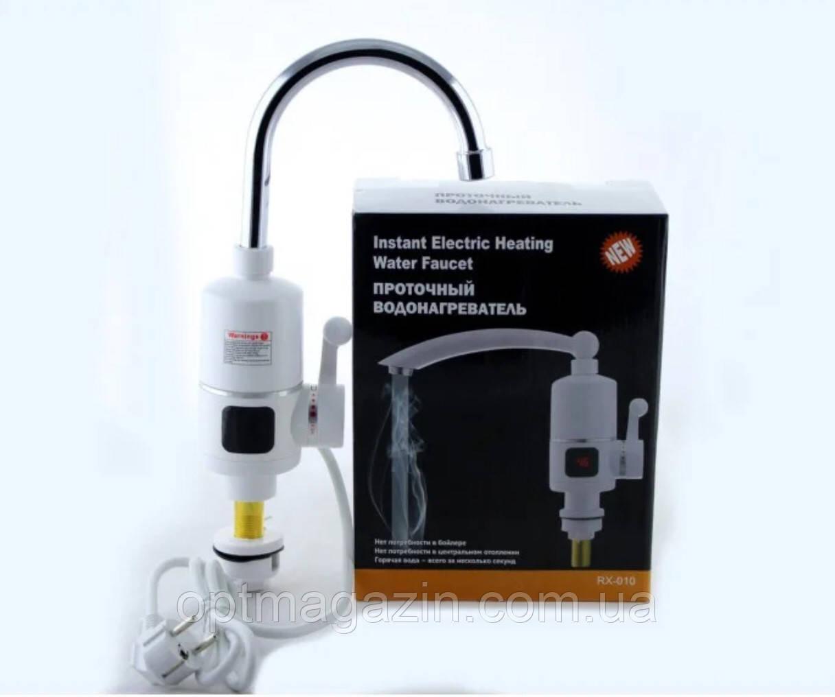 Вертикальний водонагрівач проточний на кран з LCD дисплеєм UKC RX-005 білий