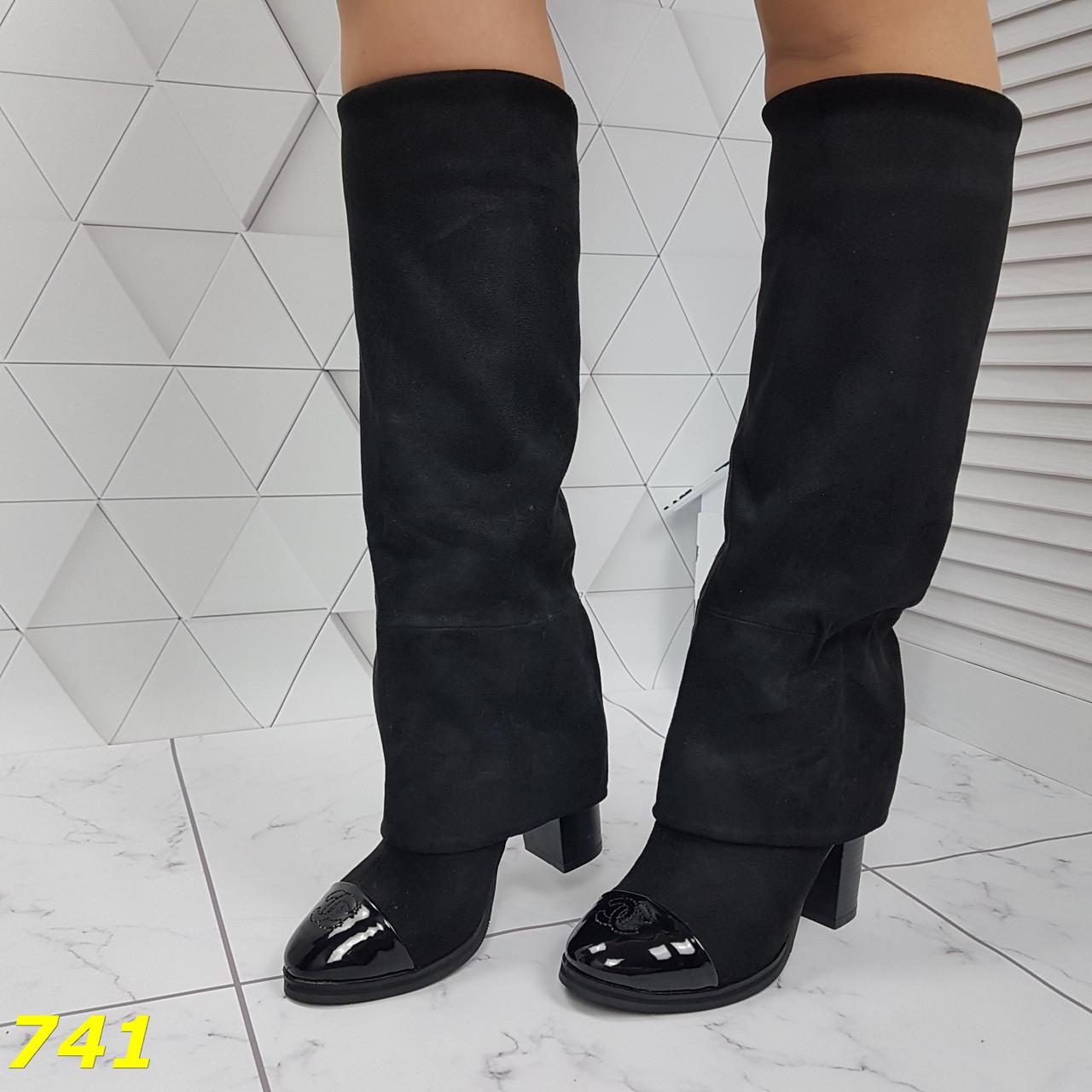 Оригинальные сапоги деми с лаковым носочком удобный каблук Шанель