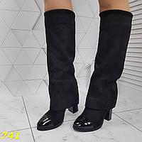 Оригинальные сапоги деми с лаковым носочком удобный каблук Шанель, фото 1