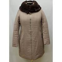 Теплая зимняя куртка в бежевом цвете с меховым воротником большого размера