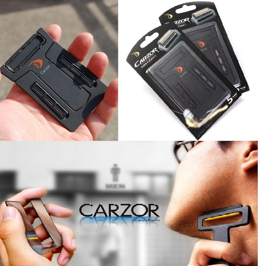 Бритва кредитка в бумажник, карта Carzor 3 в 1. Портативная бритва, комплект для бритья, бритвенный станок.