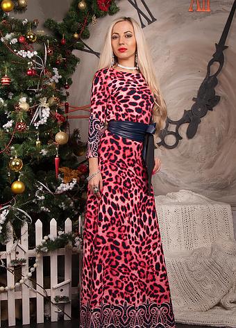 Длинное в пол платье с кожаным поясом, фото 2