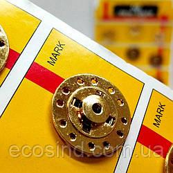D=22 мм кнопки металлические декоративные для одежды пришивные золотой (653-Т-0749)