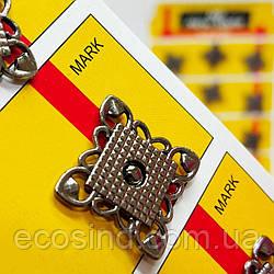 D=20 мм кнопки металлические декоративные для одежды пришивные графит (653-Т-0758)
