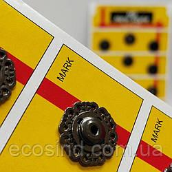 D=18 мм кнопки металлические декоративные для одежды пришивные графит (653-Т-0767)