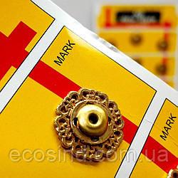 D=18 мм кнопки металлические декоративные для одежды пришивные золотой (653-Т-0768)