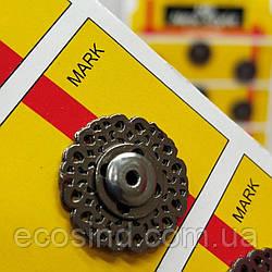 D=21 мм кнопки металлические декоративные для одежды пришивные графит (653-Т-0769)