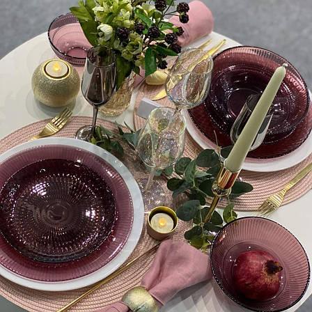 Десертная тарелка 19 см из цветного стекла Luminarc Луиз Лилак (L5169), фото 2