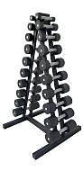 Гантельный ряд от 1 до 10 кг металл со стойкой профессиональный для спортзала фитнеса (общий вес 110кг)