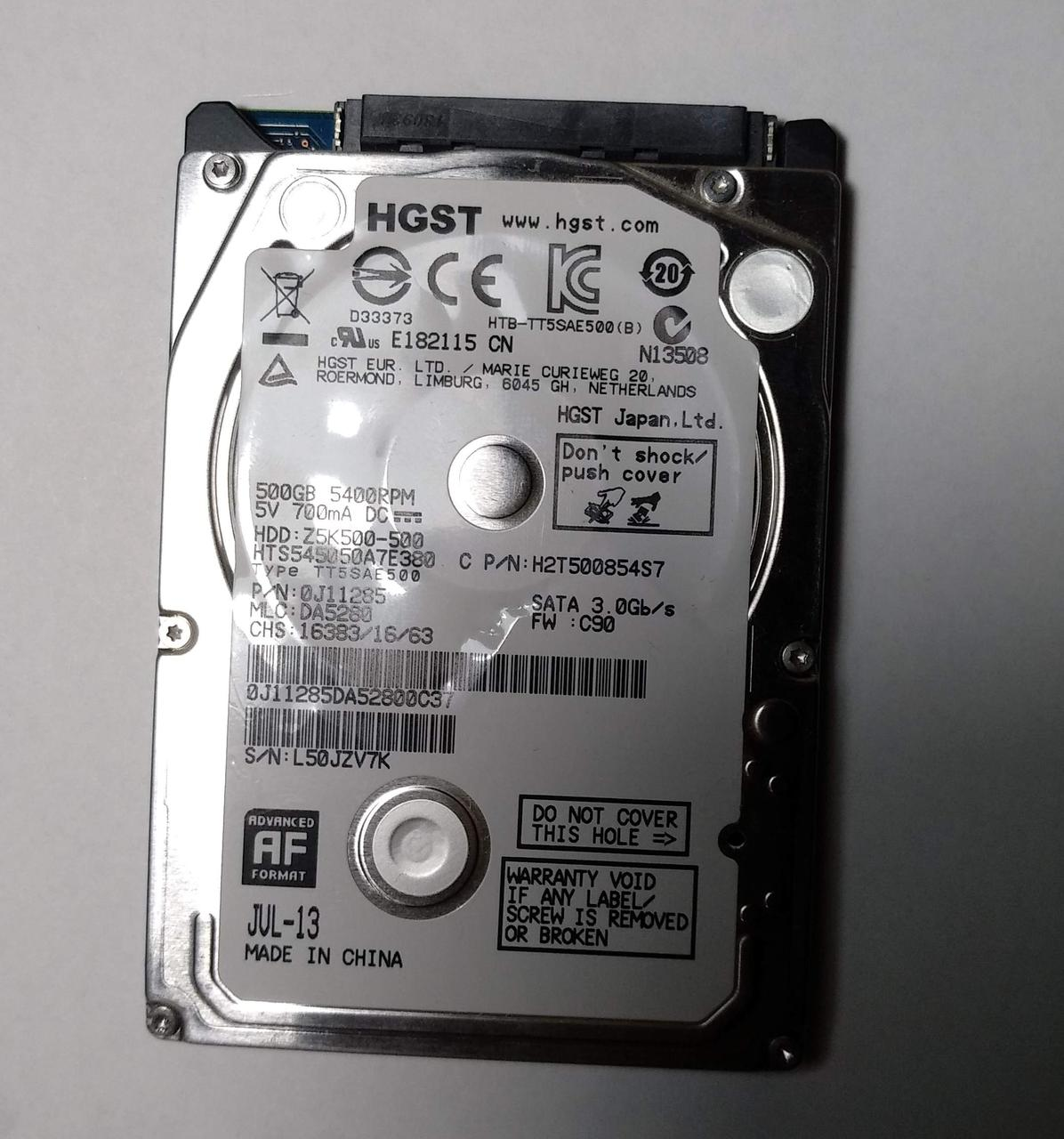 """451 HDD HGST 500 GB SATA2 2.5"""" 5400 rpm 8 MB - HTS545050A7E380 - подозрительный"""