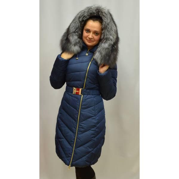 Стеганный молодежный пуховик удлиненный с натуральным мехом чернобурка -  Оптово-розничный магазин одежды