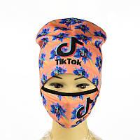 Комплект шапка и маска Tik Tok Персиковый