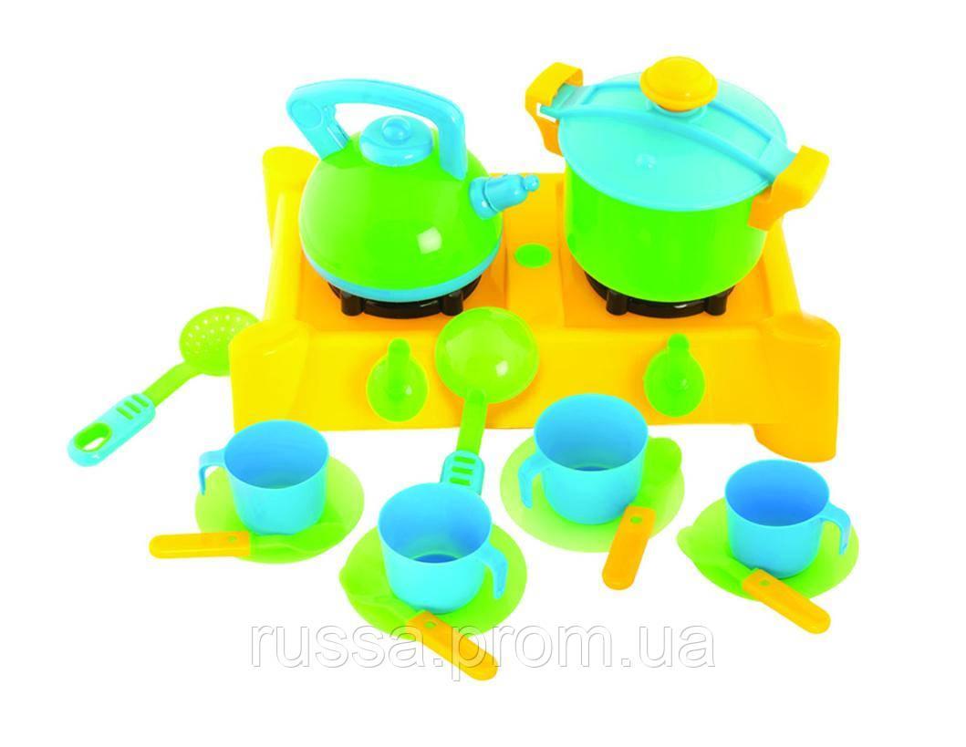 Плита с посудой, 17 предметов 04-414