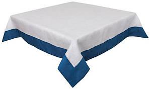 Скатерть льняная на стол с синим кантом 140х220 см