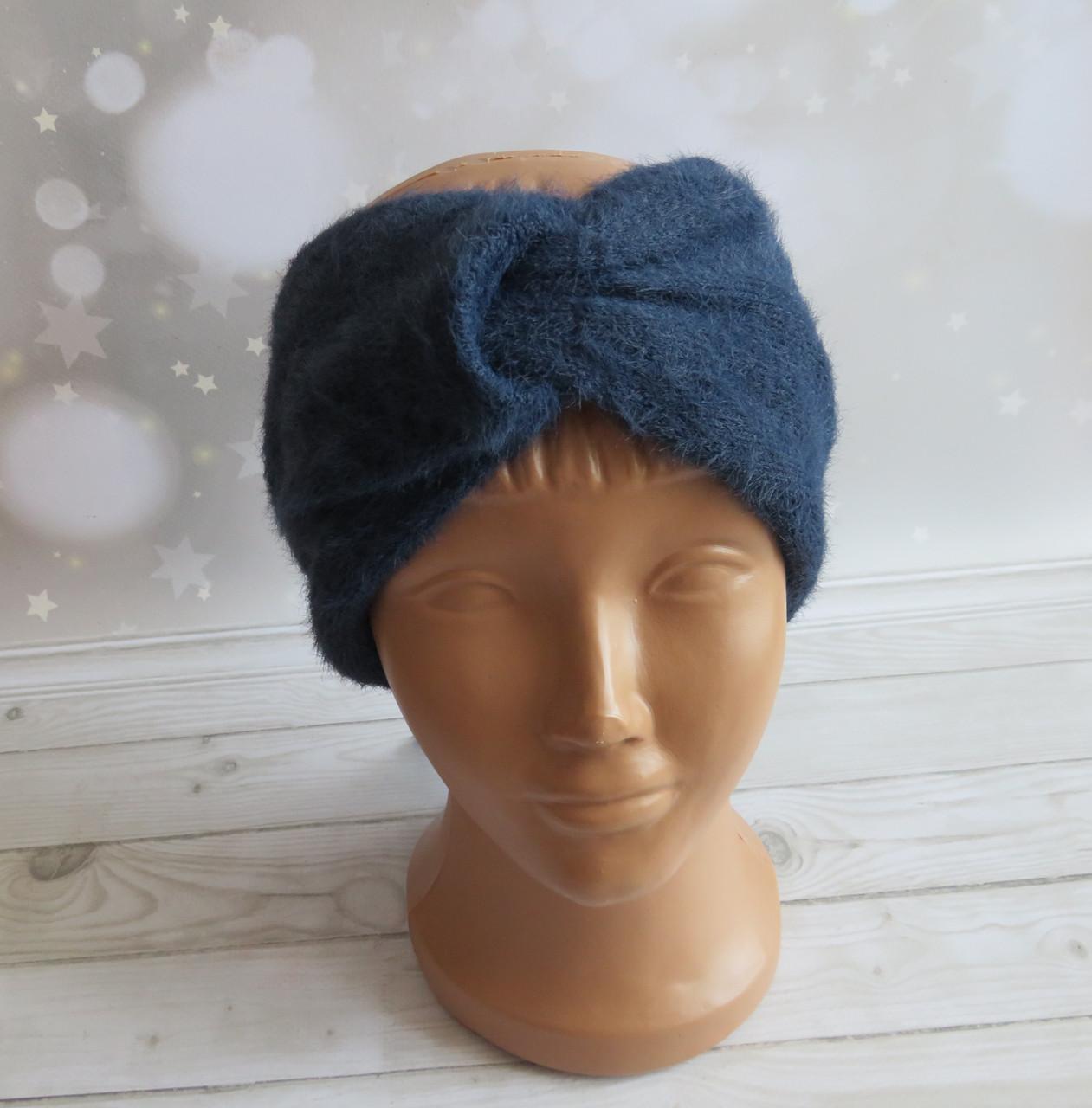 Женская повязка ангора, темно-синяя