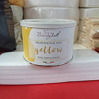 Віск в банці BeautyHall жовтий Professional Wax Yellow for depilation 400г
