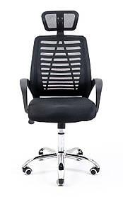 Офісне крісло Richman Бласт з підголовником чорний колір сітка спинка комп'ютерне для дому і офісу