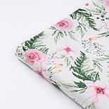 """Хлопковая ткань """"Розовые розочки и анемоны с вычурными листьями"""" на белом (№1641), фото 6"""
