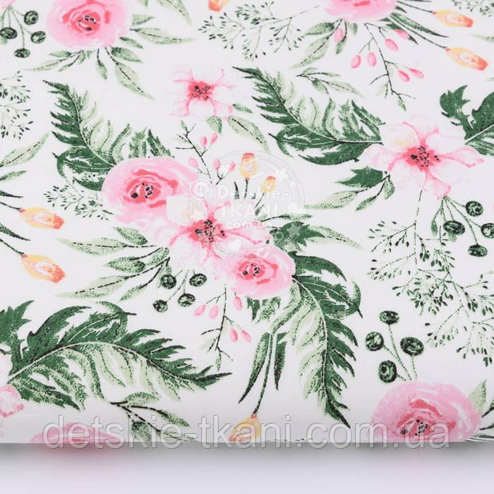 """Хлопковая ткань """"Розовые розочки и анемоны с вычурными листьями"""" на белом (№1641)"""