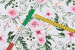 """Хлопковая ткань """"Розовые розочки и анемоны с вычурными листьями"""" на белом (№1641), фото 3"""