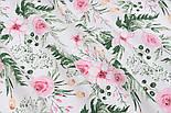 """Хлопковая ткань """"Розовые розочки и анемоны с вычурными листьями"""" на белом (№1641), фото 2"""