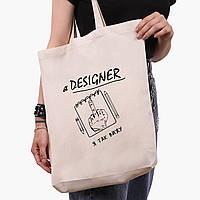 Еко сумка шоппер з принтом Я дизайнер я так бачу (9227-1545) Білий, фото 1