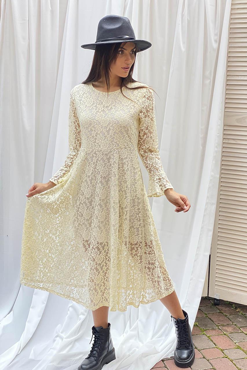 Изысканное ажурное платье миди LUREX - молочный цвет, L (есть размеры)