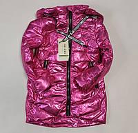 Детская демисезонная куртка пальто для девочки малиновая блеск 4-5 лет