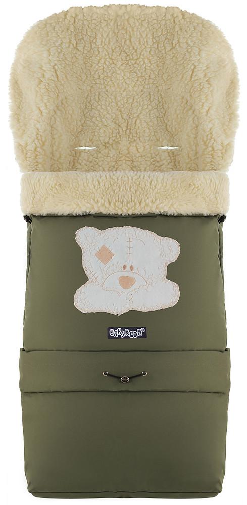 Зимний конверт Babyroom №20 с удлинением  хаки (мордочка мишки штопаная)