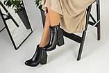 Зимние женские ботинки, кожаные, черные, на меху, с замочками, на небольшом устойчивом каблуке, фото 3