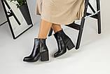 Зимние женские ботинки, кожаные, черные, на меху, с замочками, на небольшом устойчивом каблуке, фото 4